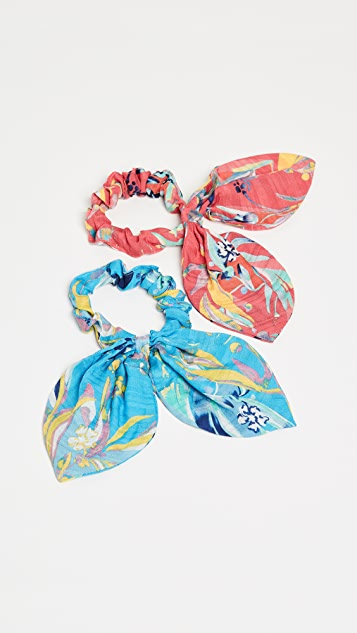 Tanya Taylor Botanical Floral Scrunchies
