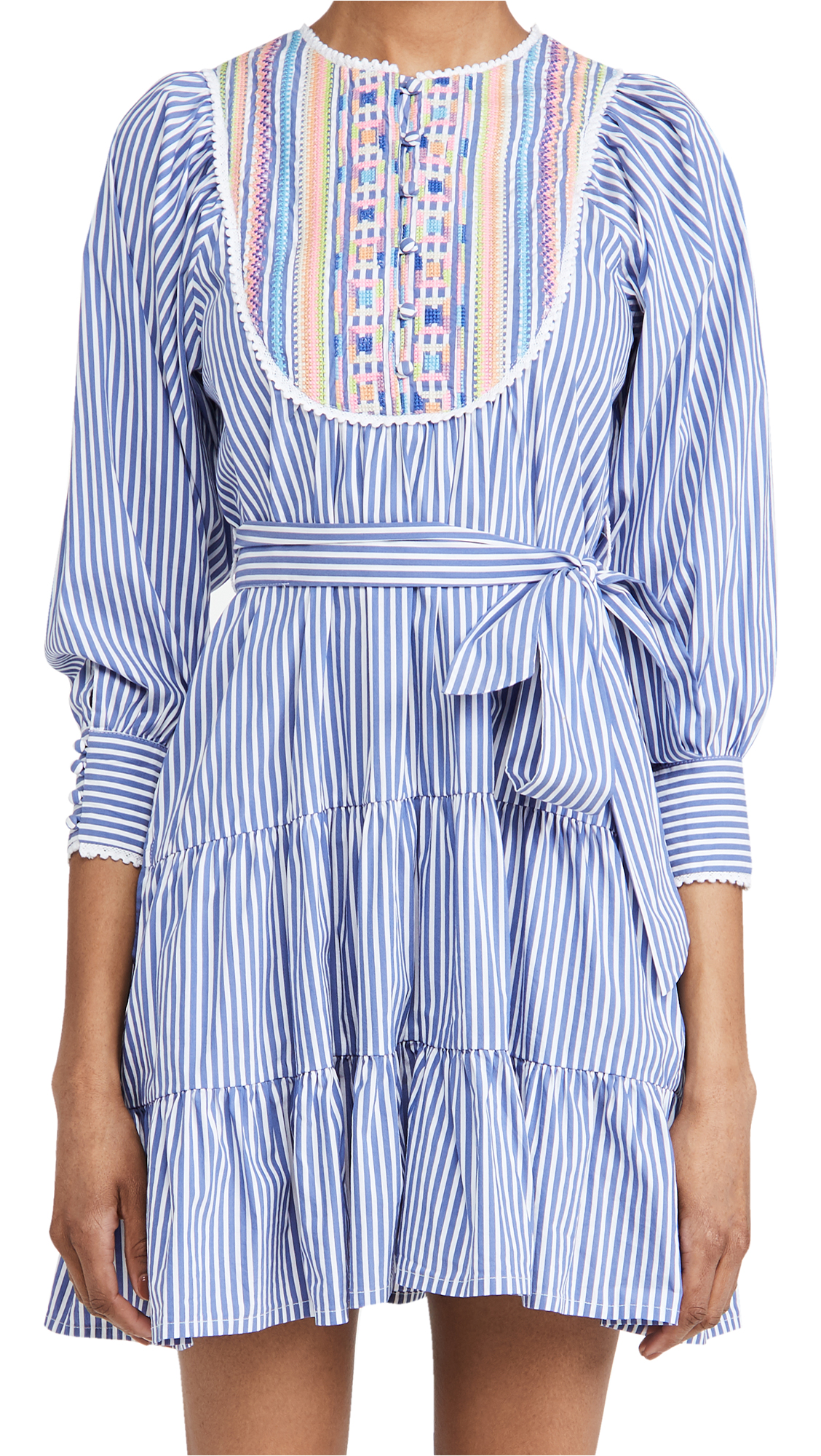 Tanya Taylor Elaia Embroidered Yoke Pinstripe Long Sleeve Dress In Blue/ White Stripe