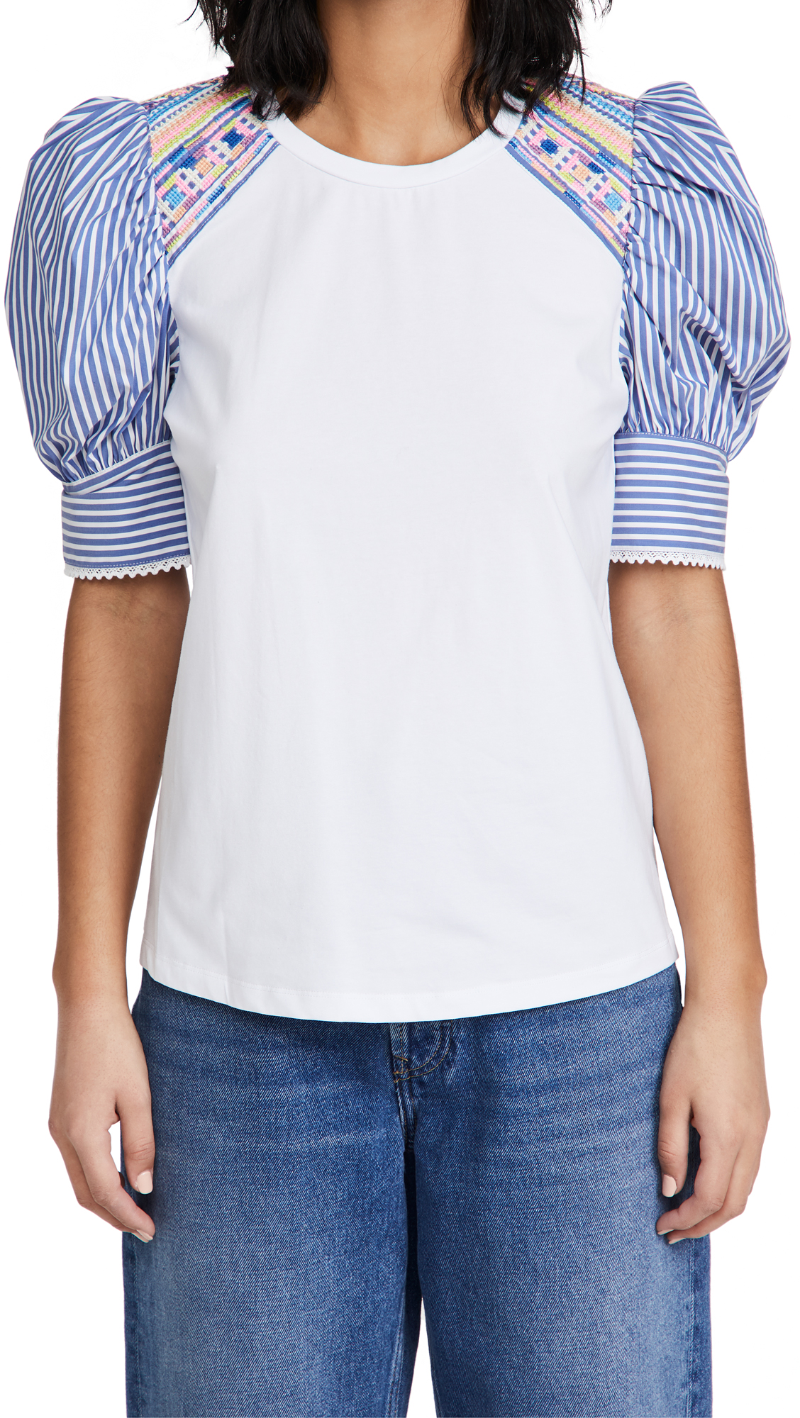 Tanya Taylor Women's Maddie Pinstripe Puff-sleeve Top In White