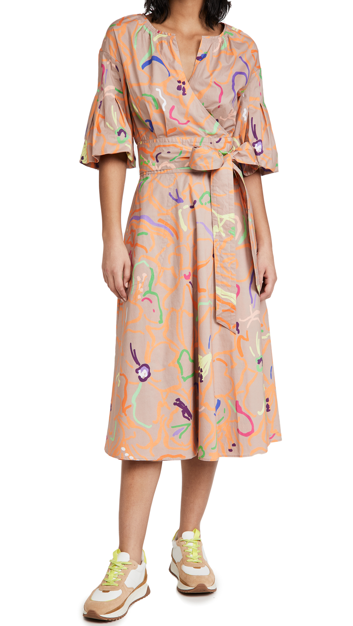 Tanya Taylor Frida Tie Waist Midi Dress In Squiggle Floral Beige