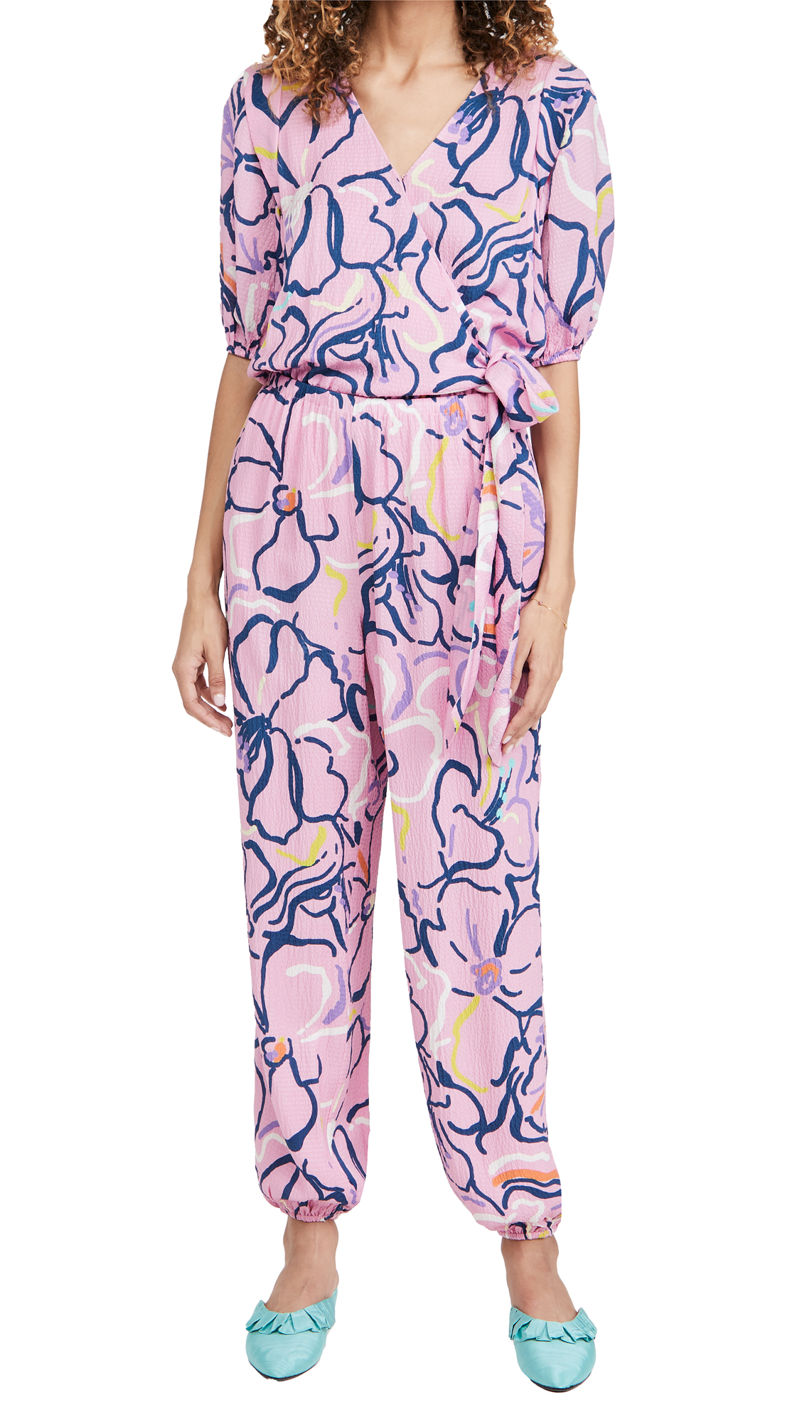Tanya Taylor Virgil Squiggle Floral Puckered Silk Jumpsuit In Squiggle Floral Purple