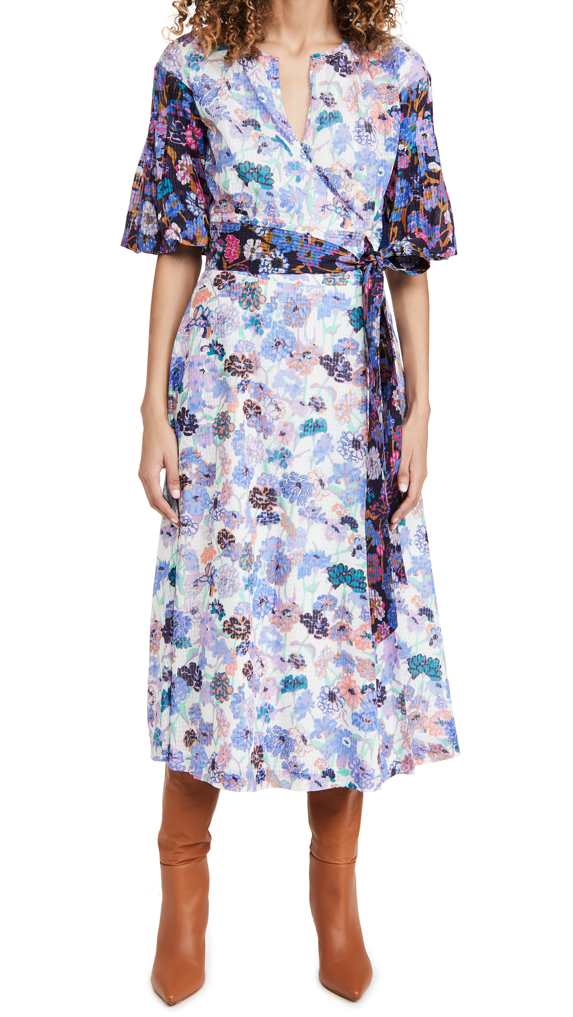 Tanya Taylor Frida Dress In Mixed Meadow Ivory/navy