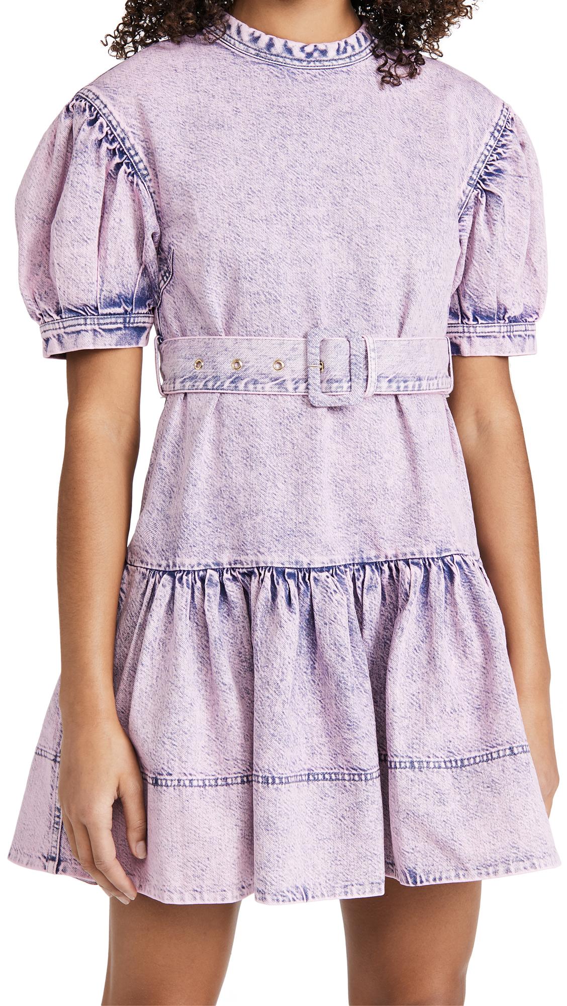 Tanya Taylor Alissa Mini Denim Dress In Pale Blue/pale Pink Overdye