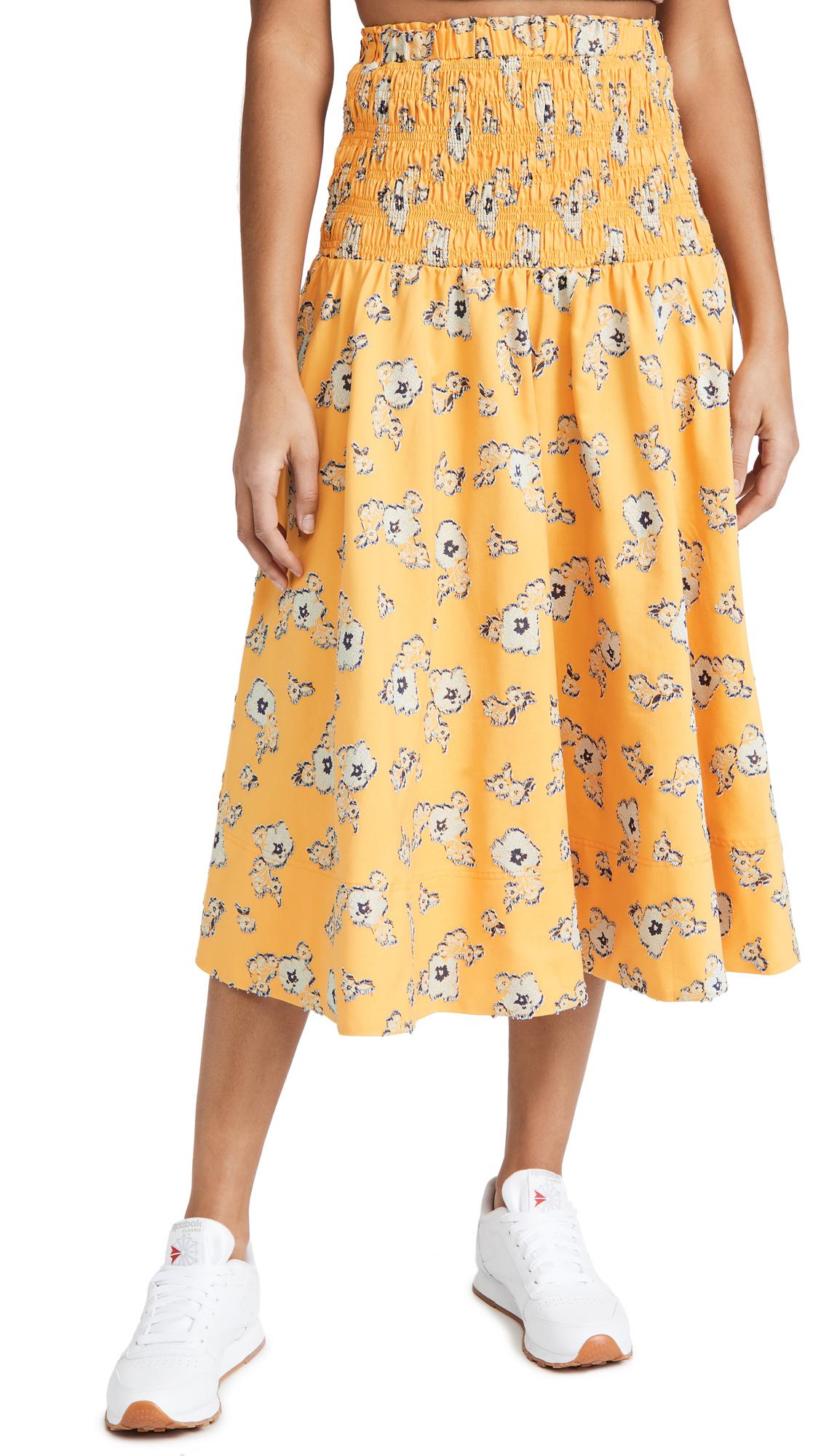 Tanya Taylor Lyla Floral Smocked Midi Skirt In Scattered Blossom Marigold