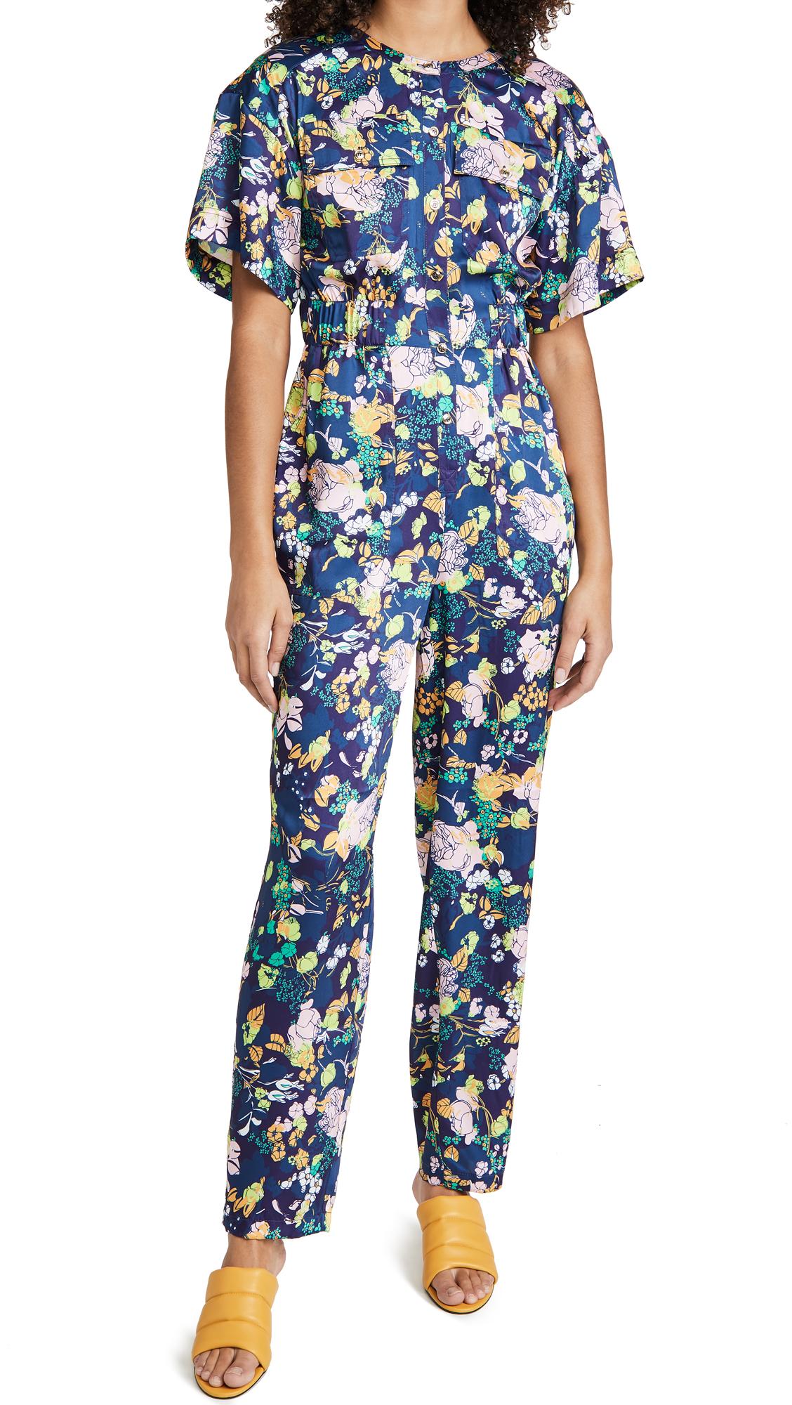Tanya Taylor Jenni Jumpsuit In Multicolor Floral Navy Multi
