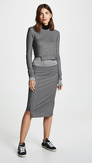 Twenty Tees Roslyn Plated Rib Pencil Skirt
