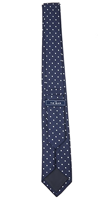 The Tie Bar Dotted Dots Linen Silk Tie