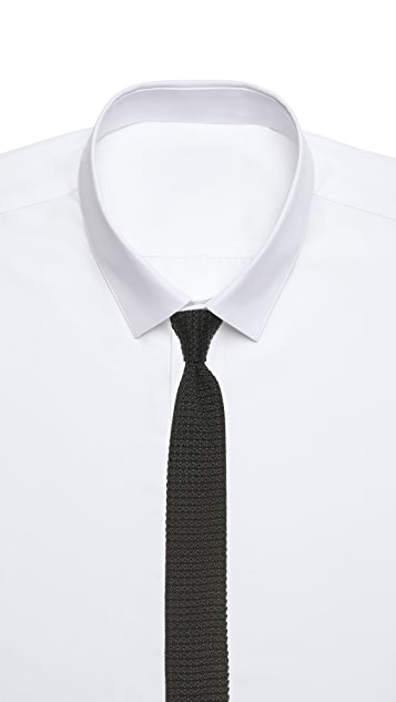 The Tie Bar Black Knit Silk Tie Set