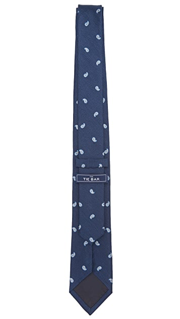 The Tie Bar Navy Subtle Paisley Tie Set