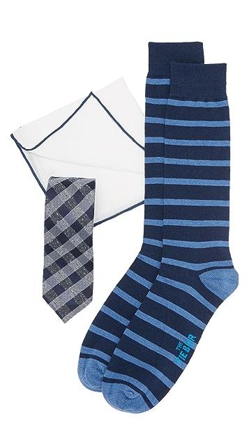 The Tie Bar Splattered Gingham Tie Set