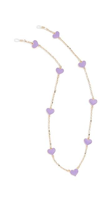Tuleste Delicate Enamel Heart Eyewear Chain