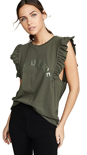 The Upside Khaki Frill Muscle Tee