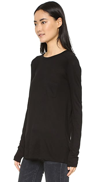 T by Alexander Wang Classic Long Sleeve Tee with Pocket