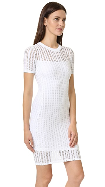 T by Alexander Wang Jersey Jacquard Fitted Dress