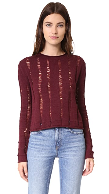 alexanderwang.t Dropped Needle Merino Cropped Pullover