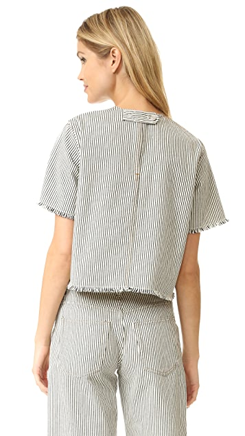 T by Alexander Wang Frayed Striped Short Sleeve Top