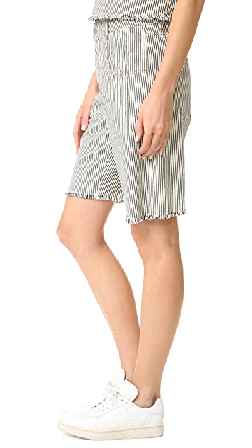 T by Alexander Wang Frayed Striped Shorts