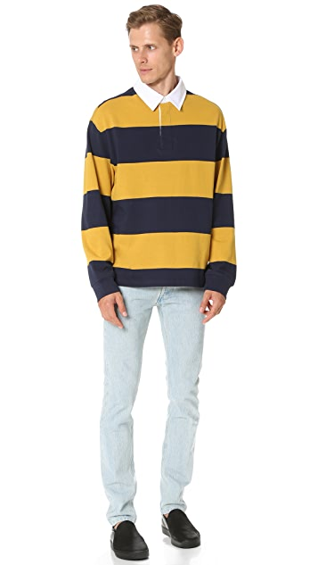 T by Alexander Wang Engineered Stripe Oversized Long Sleeve Polo