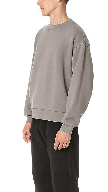 T by Alexander Wang Fleece Oversized Crew Neck Sweatshirt