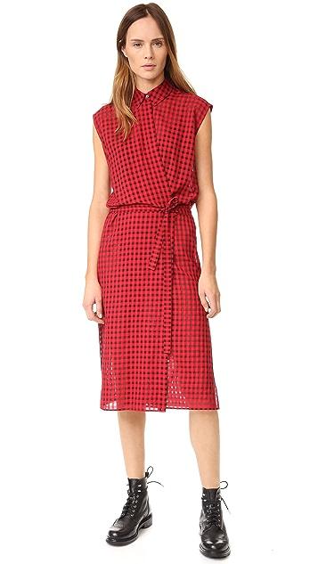 6f481968bba alexanderwang.t Checkered Gauze Wrap Dress