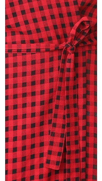 T by Alexander Wang Checkered Gauze Wrap Dress