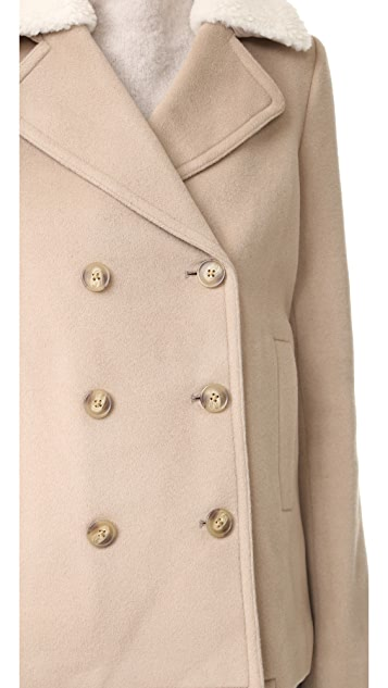 T by Alexander Wang Wool Peacoat with Shearling Collar