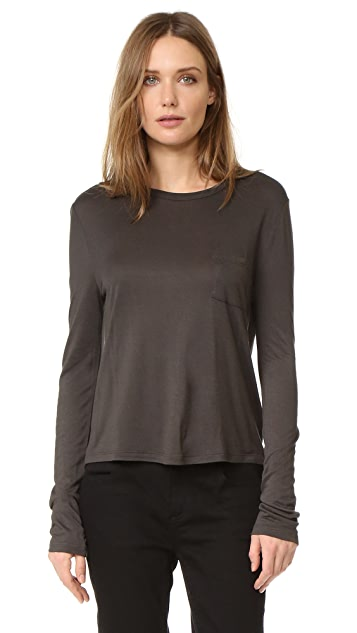 T by Alexander Wang Cropped Long Sleeve Pocket Tee
