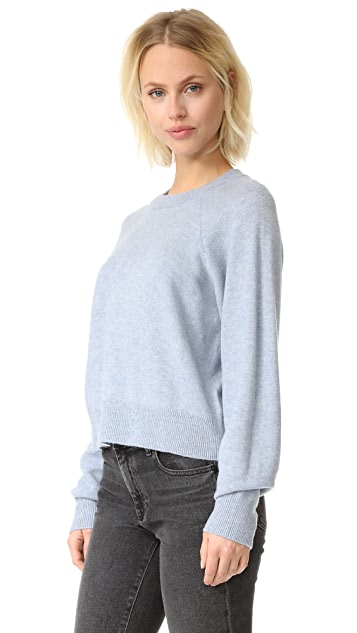 T by Alexander Wang Birdseye Crew Crop Sweater