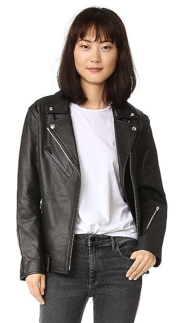 alexanderwang.t Leather Oversized Motorcycle Jacket
