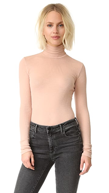 alexanderwang.t Sheer Rib Long Sleeve Turtleneck