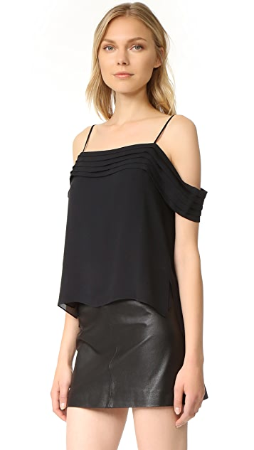 T by Alexander Wang Pleated Off Shoulder Silk Top