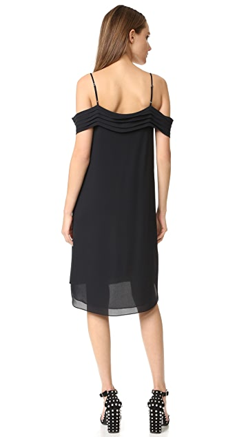 T by Alexander Wang Pleated Off Shoulder Silk Dress