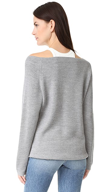 T by Alexander Wang V Neck Sweater with Tank Trim