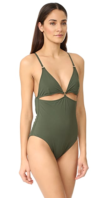 T by Alexander Wang Cutout Triangle Top One Piece Swimsuit