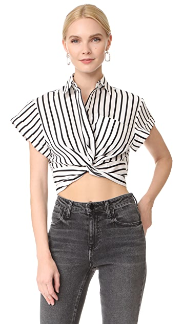 T by Alexander Wang Striped Twist Front Crop Shirt