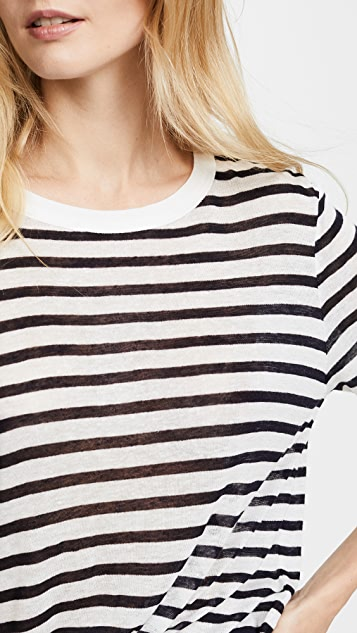 T by Alexander Wang Striped Cropped Tee