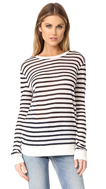 T by Alexander Wang Long Sleeve Crew Neck Tee - Ink And Ivory