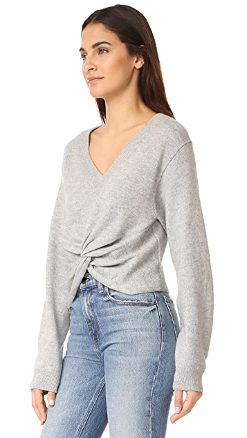 T by Alexander Wang Deep V Twist Front Sweater