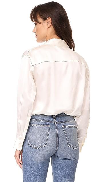 T by Alexander Wang Wrap Shirt Bodysuit