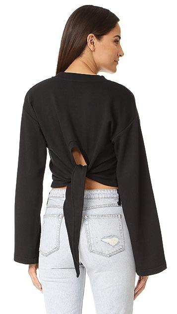 T by Alexander Wang Tie Back Crop Sweatshirt