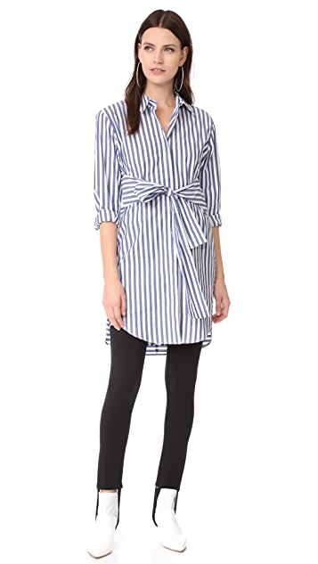 T by Alexander Wang Tie Front Collared Dress