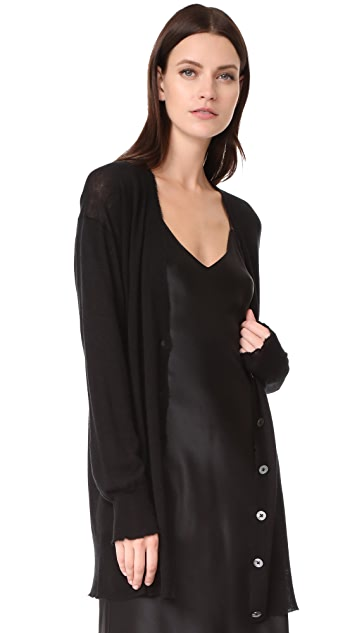 T by Alexander Wang Gauze Cashmere Nylon Blend Long Line Cardigan