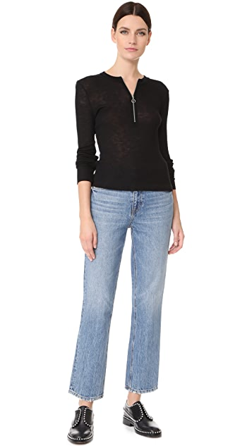 T by Alexander Wang Ribbed Zip Neck Pullover
