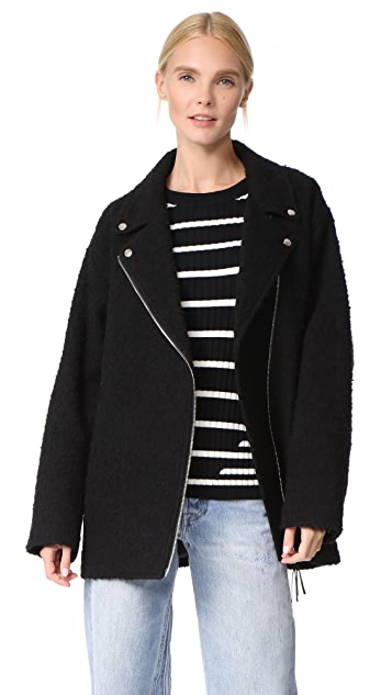 T by Alexander Wang Asymmetrical Notch Collar Coat