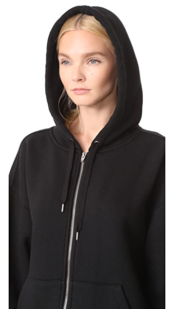 T by Alexander Wang Dense Fleece Zip Up Hoodie