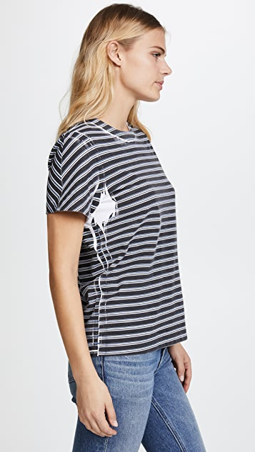 T by Alexander Wang High Twist Striped Short Sleeve Tee
