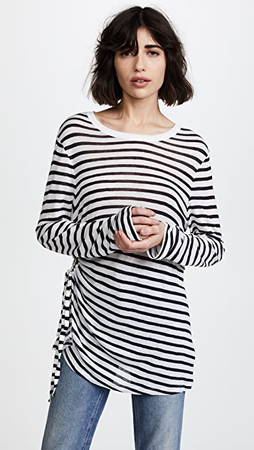 T by Alexander Wang Stripe Slub Laced Side Tee - Ink And Ivory