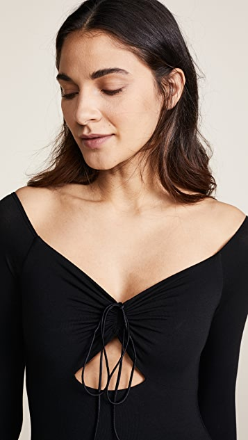 T by Alexander Wang Bodysuit with Cutout & Ties