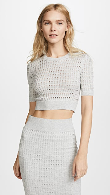 T by Alexander Wang Lace Short Sleeve Crop Top - Light Heather Grey