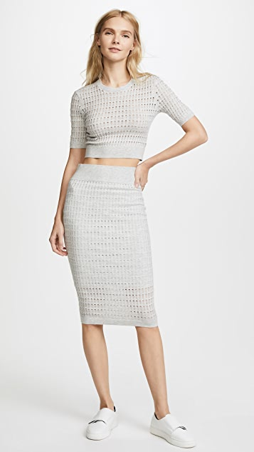T by Alexander Wang Lace Short Sleeve Crop Top